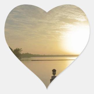 caribbean sunset heart sticker