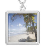 Caribbean - Trinidad - Manzanilla Beach on Silver Plated Necklace
