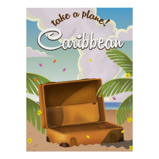 Caribbean vacation Classic Travel Poster, Poster