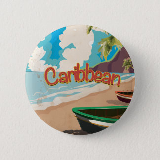 Caribbean Vintage Beach travel poster Pinback Button