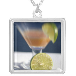 Caribbean, Virgin Islands. Tropical rum punch, Silver Plated Necklace