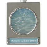 Caribbean Water Abstract Blue Nature Silver Plated Banner Ornament