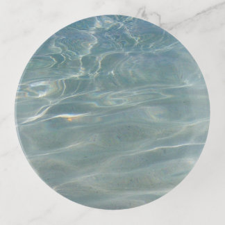 Caribbean Water Abstract Blue Nature Trinket Trays