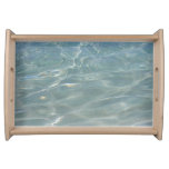 Caribbean Water I Abstract Blue Nature Design Serving Tray