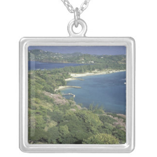 Caribbean, West Indies, St. Lucia. View of Silver Plated Necklace