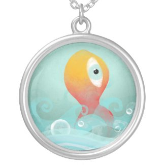Caribean blue sea fish cancun silver Necklace necklace