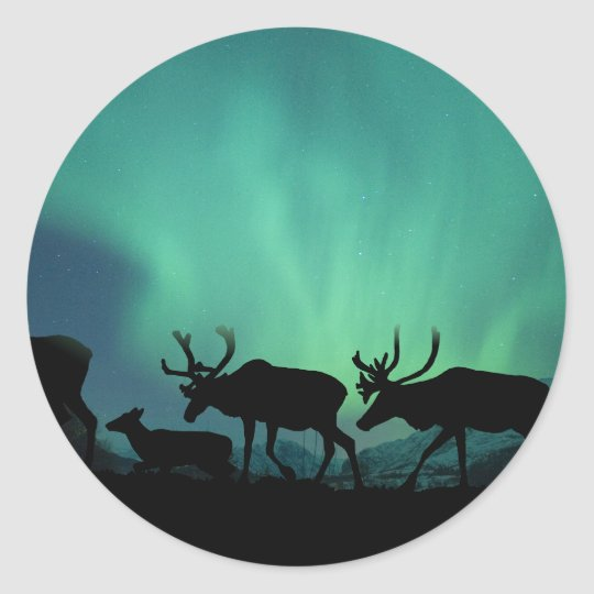 Caribou and Northern Lights Classic Round Sticker