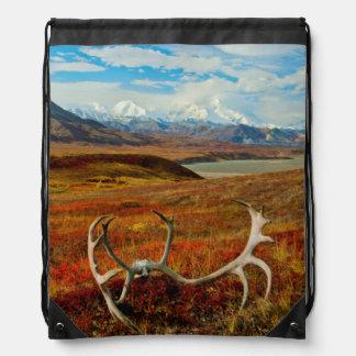 Caribou Antlers On The Alaskan Tundra Drawstring Bag