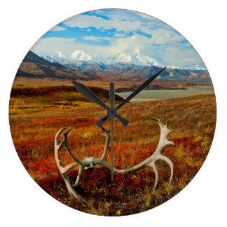 Caribou Antlers On The Alaskan Tundra Large Clock