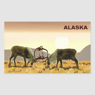 Caribou Duel - Alaska Rectangular Sticker