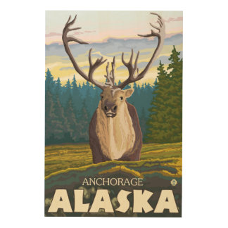 Caribou in the Wild - Anchorage, Alaska Wood Wall Decor