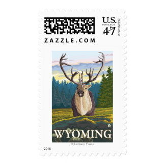 Caribou in the Wild - Wyoming Postage