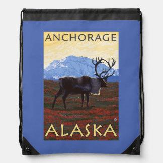 Caribou Scene - Anchorage, Alaska Drawstring Backpacks