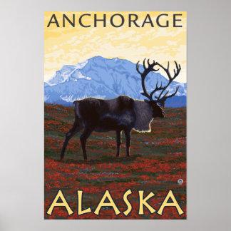 Caribou Scene - Anchorage, Alaska Poster