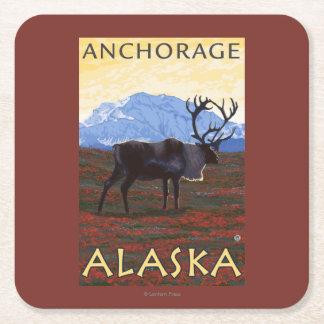 Caribou Scene - Anchorage, Alaska Square Paper Coaster