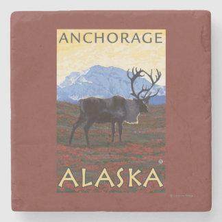 Caribou Scene - Anchorage, Alaska Stone Coaster