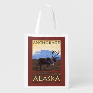 Caribou Scene - Anchorage, Alaska Market Totes