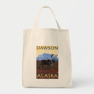 Caribou Scene - Dawson, Alaska Tote Bags