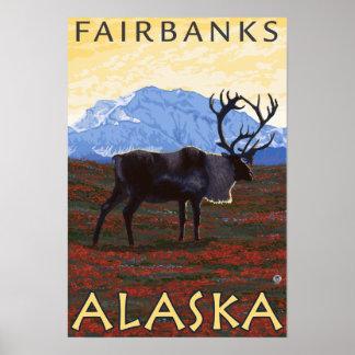 Caribou Scene - Fairbanks, Alaska Poster