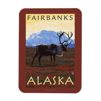 Caribou Scene - Fairbanks, Alaska Rectangular Photo Magnet