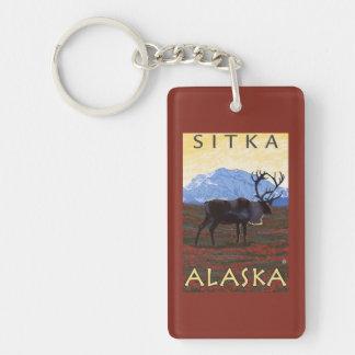 Caribou Scene - Sitka, Alaska Double-Sided Rectangular Acrylic Keychain