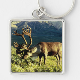 Caribou Silver-Colored Square Keychain