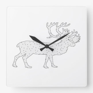 Caribou Winter Art Square Wall Clock