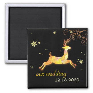 Caribou Winter Wedding Save the Date Magnet