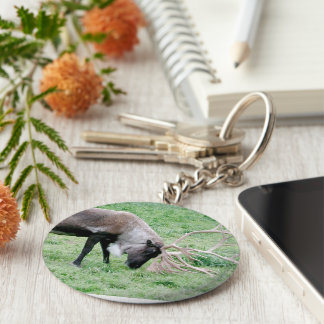 Caribou with Large Antlers Keychain