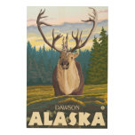 Caribú en el salvaje - Dawson, Alaska Impresión En Madera