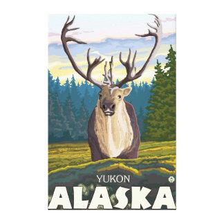 Caribú en el salvaje - el Yukón, Alaska Lienzo Envuelto Para Galerías