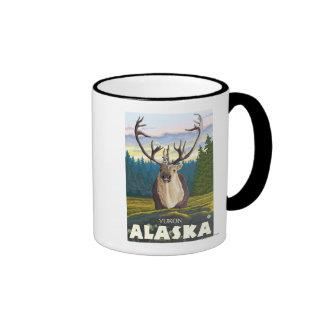 Caribú en el salvaje - el Yukón, Alaska Tazas De Café