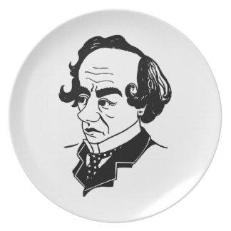 Caricatura Benjamin Disraeli Plato De Cena