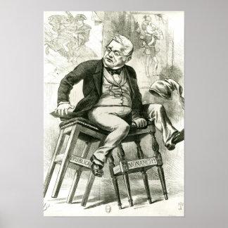 Caricatura de Adolphe Thiers entre dos Poster