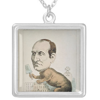 Caricatura de barón Jorte Eugene Haussmann Colgante Cuadrado