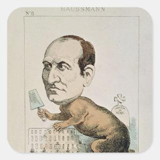 Caricatura de barón Jorte Eugene Haussmann Pegatina Cuadrada