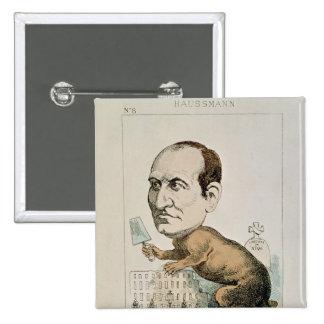 Caricatura de barón Jorte Eugene Haussmann Pin Cuadrado