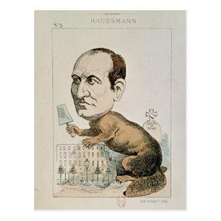 Caricatura de barón Jorte Eugene Haussmann Postales