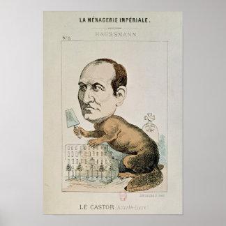 Caricatura de barón Jorte Eugene Haussmann Póster