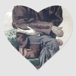Caricatura de Charles Darwin de Vanity Fair Pegatina En Forma De Corazón