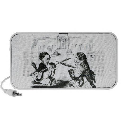 Caricatura de Delacroix y de Ingres iPhone Altavoces