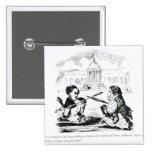Caricatura de Delacroix y de Ingres Pin Cuadrado