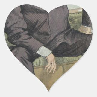 Caricatura de George Guillermo Pierrepont Bentinck Pegatina En Forma De Corazón
