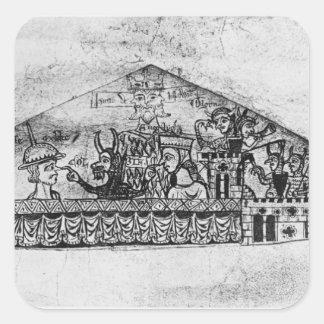 Caricatura de judíos ingleses, de un Haggadah Pegatinas Cuadradas