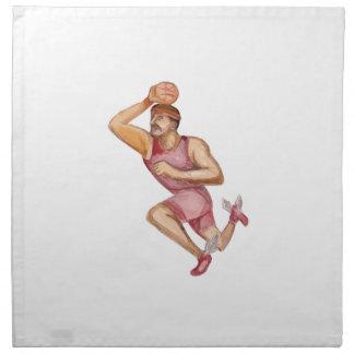 Caricatura de Jumpshot del jugador de básquet Servilletas Imprimidas