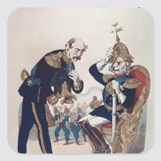caricatura de Kaiser Wilhelm de Prusia Pegatina Cuadrada