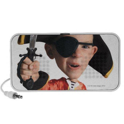 caricatura de la foto de un muchacho caucásico en iPod altavoz