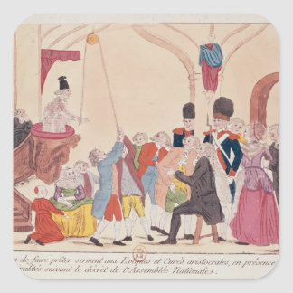 Caricatura de la manera de hacer aristocrático pegatina cuadrada