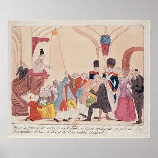 Caricatura de la manera de hacer aristocrático póster