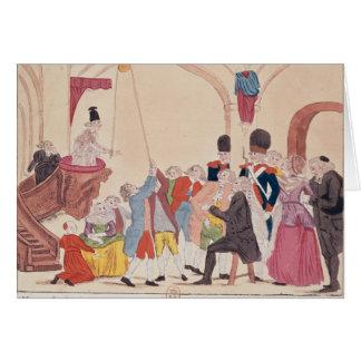 Caricatura de la manera de hacer aristocrático tarjeta de felicitación